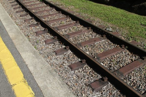 Steel sleepered track in the platform at Kuranda