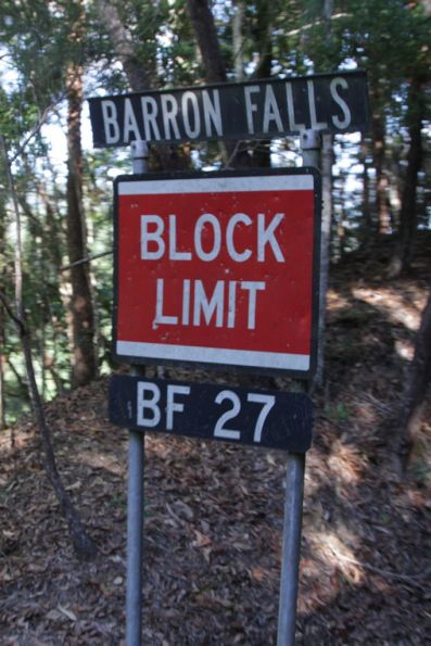 Block limit for the down end of Barron Falls in the up direction, 'signal' BF27 in the Direct Train Control (DTC) system