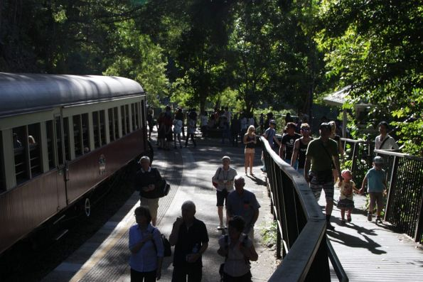 Passengers leave the train during the short stop at Barron Falls