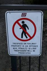 'NO ENTRY' sign at Barron Falls station