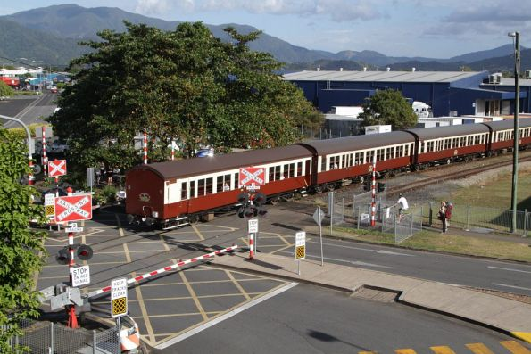 Tail end of the train departing Cairns station for Kuranda