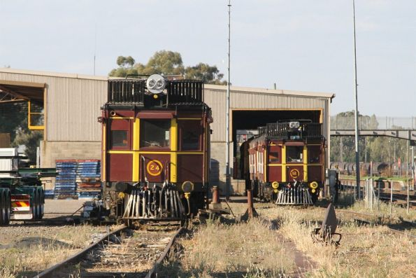 Rail motors No. 24 and No. 12 stabled in the yard at Cootamundra