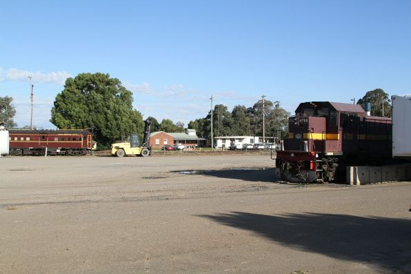 Rail motor No. 24 and 4708 stabled in the yard at Cootamundra