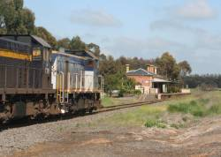 Powering into Birregurra station