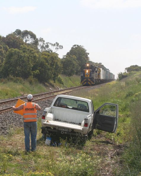 Approaching the flagman outside Colac