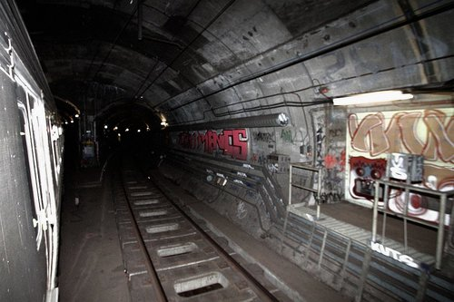 Junction of the City Circle and Clifton Hill tunnels in the underground loop