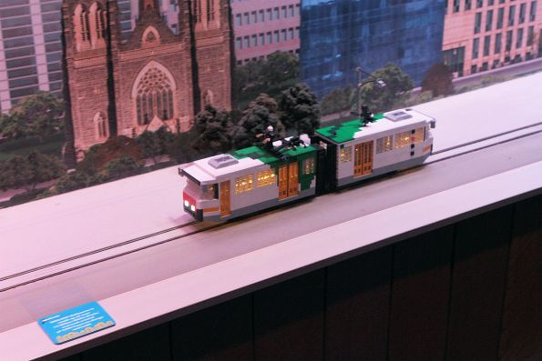 Lego B2 class tram model heads along the tracks