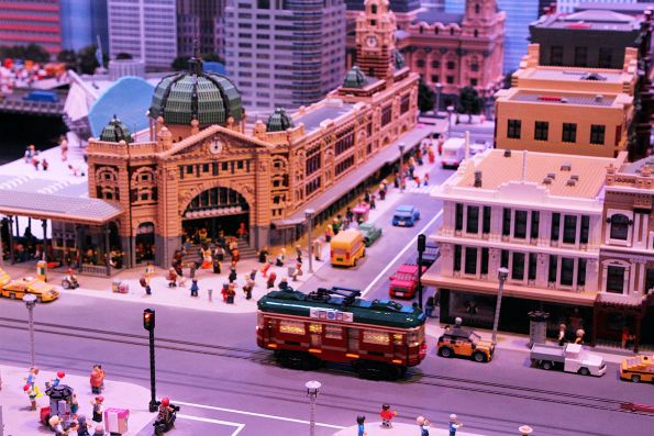 Lego W class City Circle tram passes Flinders Street Station