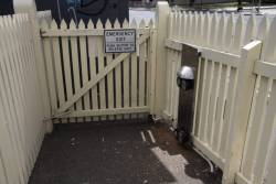 Push button releases for the pedestrian gate at Anderson Street, Yarraville