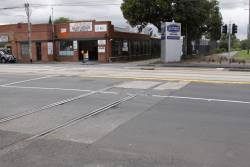 Former Nicholson Street level crossing for the Inner Circle, rails still in place