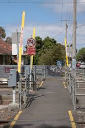Pedestrian boom barriers at Westona station