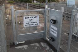 Magnetic latch on the emergency exit gate at Centre Road, Bentleigh
