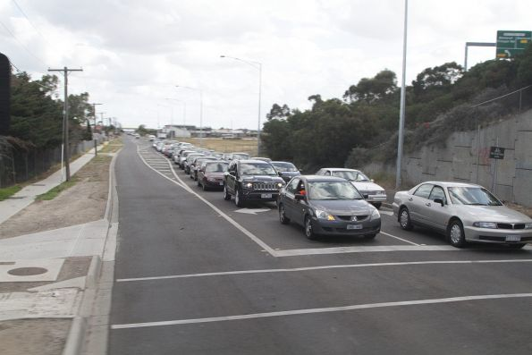 Northbound cars queue at the Fitzgerald Road level crossing in Deer Park