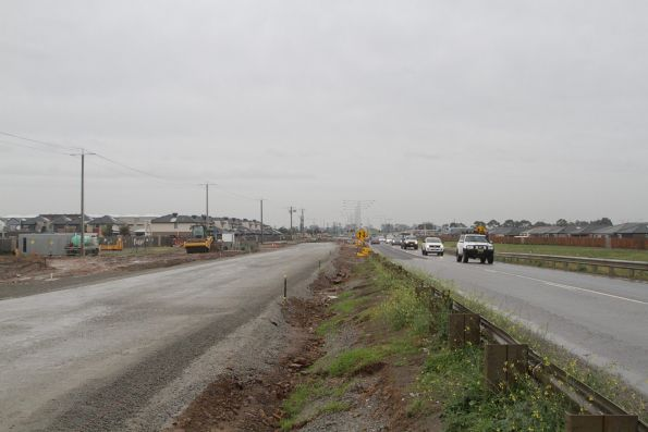 Road duplication works underway on the south side of the Cardinia Road level crossing