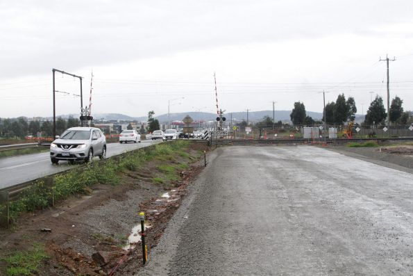 Road duplication works underway at the Cardinia Road level crossing