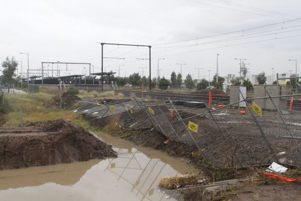 Road duplication works underway on the north side of the Cardinia Road level crossing