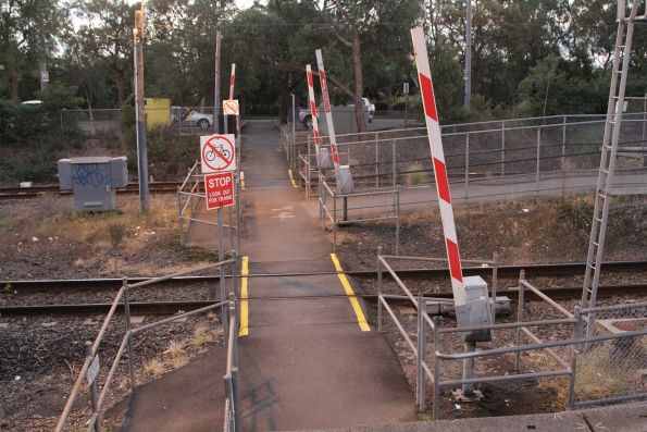 Pedestrian boom barriers at the entrance to Ringwood East station