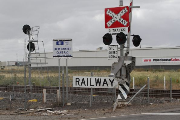 'Boom barrier cameras in operation' sign at the Robinsons Road level crossing in Deer Park