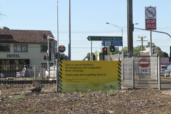 Level Crossing Removal Authority signage at the little used Werribee Street crossing in Werribee