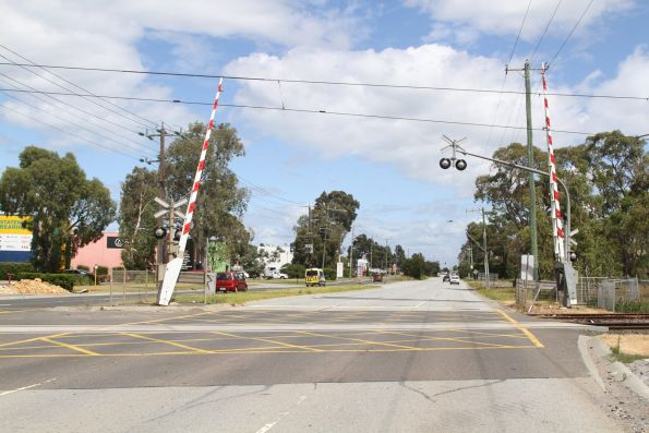 Level crossing on the Cranbourne line at Greens Road, Dandenong South