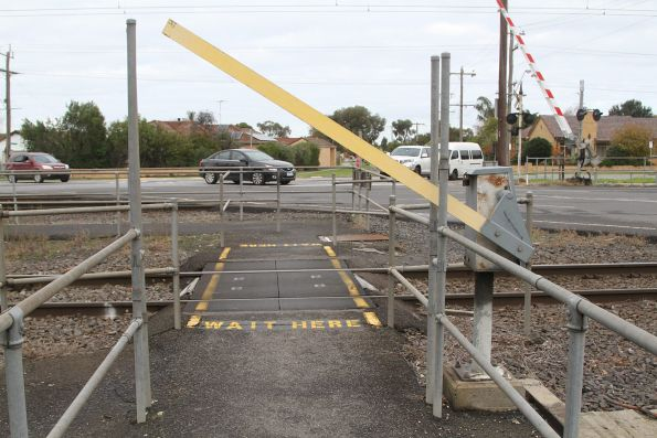 Pedestrian boom barriers at the Main Street level crossing in Pakenham