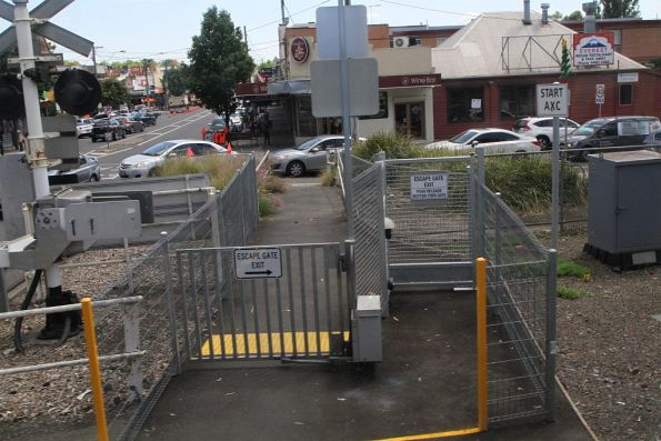 Emergency exit gates with electromagnetic latches at Station Street, Fairfield