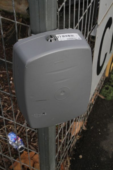 Eco-Counter 'Pyro Box' pedestrian counter at the Ascot Vale Road level crossing in Flemington