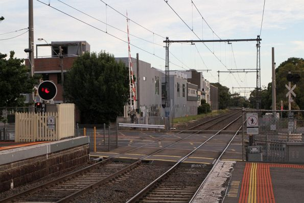 Ferguson Street level crossing at the down end of North Williamstown station