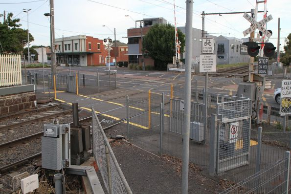 Ferguson Street pedestrian crossing at the down end of North Williamstown station
