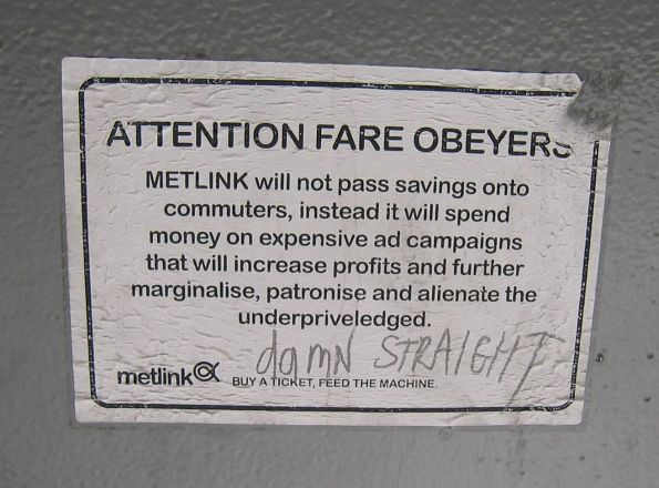 Another parody of the Metlink 'Attention Fare Evaders' campaign sticker on a bin at Flinders Street platform 4