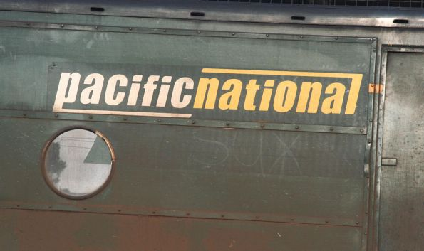 'Pacific National Sux' in the dirt of G525