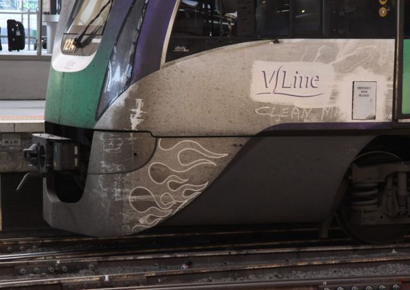 'Clean me' and three different types of grime in the flames of VL14 at Southern Cross Station