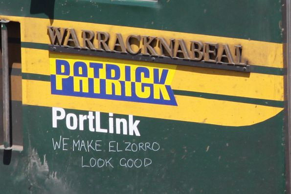'Patrick PortLink - We make El Zorro look good' scrawled on the side of G542