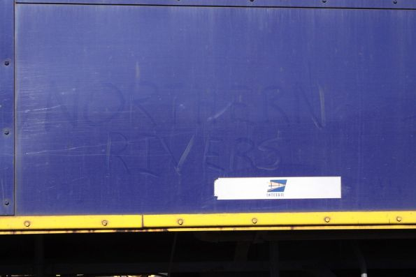 'Northern Rivers' drawn in the dirt of Interail liveried 42105