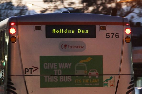 'Holiday Bus' destination on Transdev bus #576