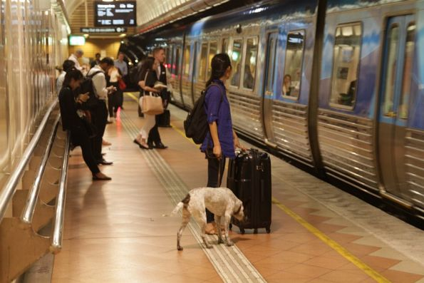 Passenger with a dog waits to board a train at Flagstaff station