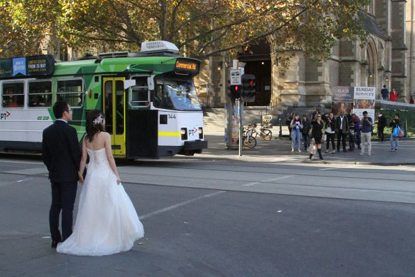 Wedding photo shoot at the corner of Flinders and Swanston Street