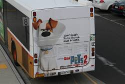 'Don't laugh. You're the one stuck in traffic' advertisement for 'The Secret Life of Pets 2'
