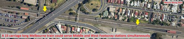 A 15 carriage long Melbourne train could serve Middle and West Footscray stations simultaneously