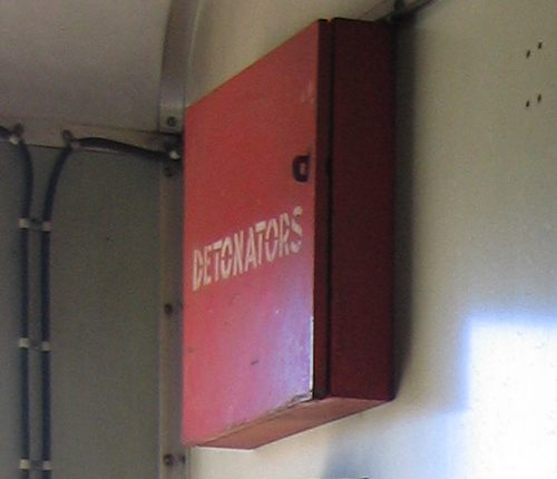 Box housing detonators inside the guards compartment of a PCJ power van