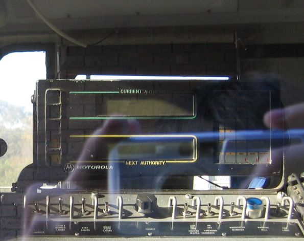 Motorolla LSDU radio (Locomotive Safeworking Display Unit) inside an N class. Used as part of the Section Authority Working safeworking system