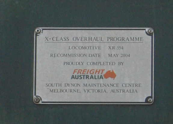Freight Australia builders plate on XR554