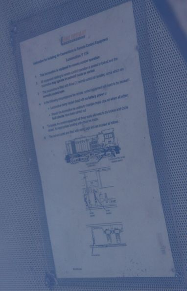 Cutout instructions for the remote control equipment fitted to Y174