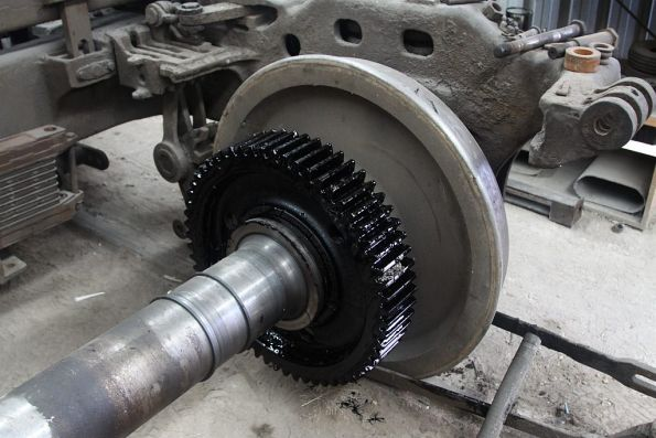 Bull gear on an S class bogie (it engages with the pinion gear on the traction motor)