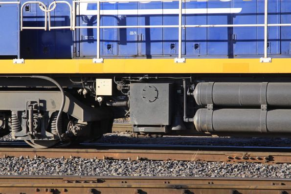 Shunting bell beneath the number 2 end fuel tank of NR98
