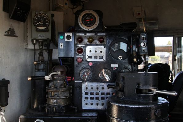 Collection of controls in the cab of T413