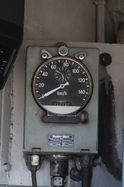 Hasler and Bern speed recorder in the cab of T413