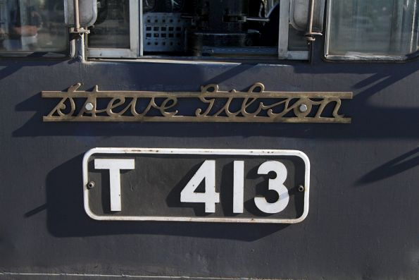 'Steve Gibson' nameplate on the side of T413