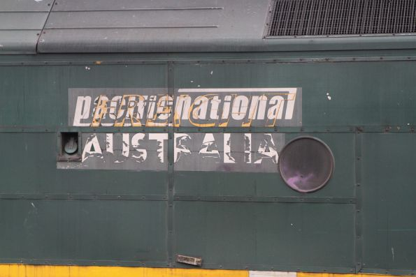 'Freight Australia' branding showing beneath the Pacific National sticker on G538