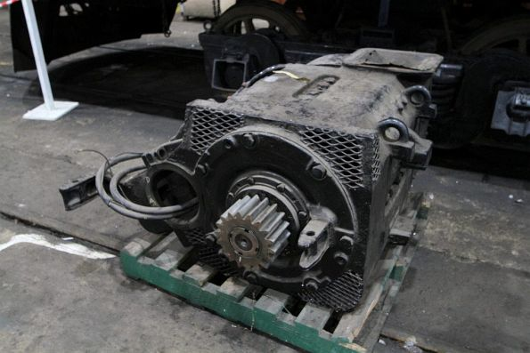 D27 traction motor from beneath a B class diesel electric locomotive